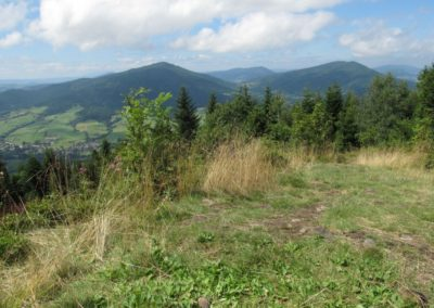 View from Mt Łopień towards north-west, at Mt Ćwilin and Mt Śnieżnica: typical landscape of the Beskid Wyspowy (Island Beskidy) Mountains