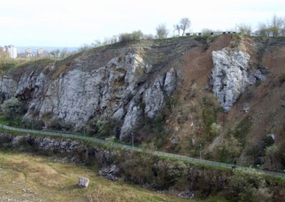 Kadzielnia abandoned quarry, in the Kielce town: depositional sequence of Devonian massive and thin-bedded limestone