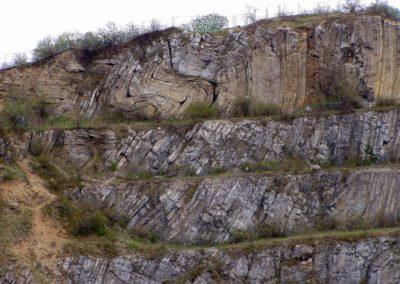 Śluchowice abandoned quarry (Czarnocki Rock Inanimate Nature Reserve) in the Kielce town: folded Devonian limestone